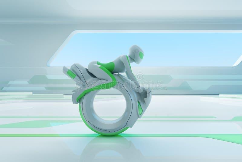 Future motobike rider in hi-tech interior.