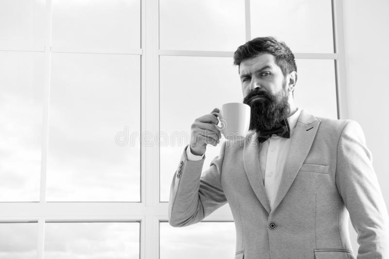 Future opportunities. serious bearded man drink coffee. businessman in formal outfit. modern life. confident business royalty free stock photography