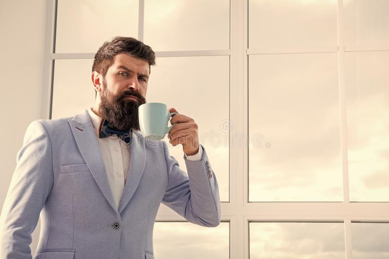 Future opportunities. serious bearded man drink coffee. businessman in formal outfit. modern life. confident business stock photos