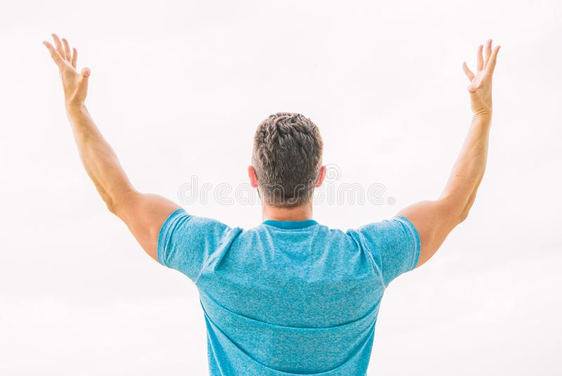 Future opportunity. Leadership and competition. Future concept. Looking forward in future. Strong muscular body feeling royalty free stock photography