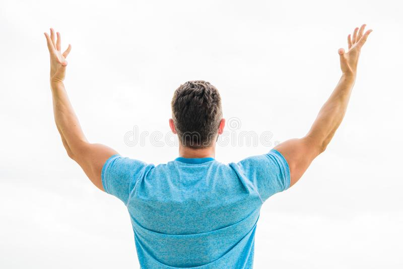 Future opportunity. Leadership and competition. Future concept. Looking forward in future. Strong muscular body feeling. Powerful rear view. Successful athlete stock image