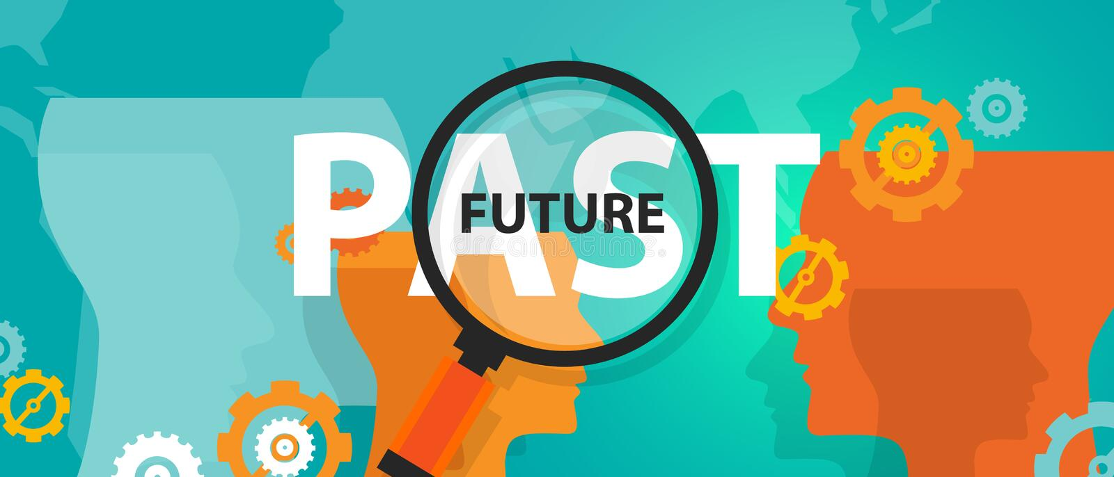 Future past now concept of thinking planing tomorrow analysis mindset thoughts vector illustration