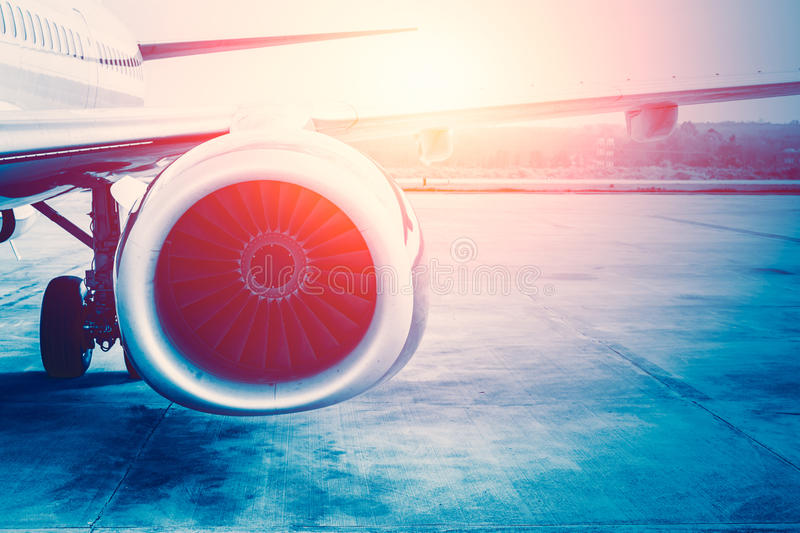 Future power of air plane, aircraft jet engine. royalty free stock image