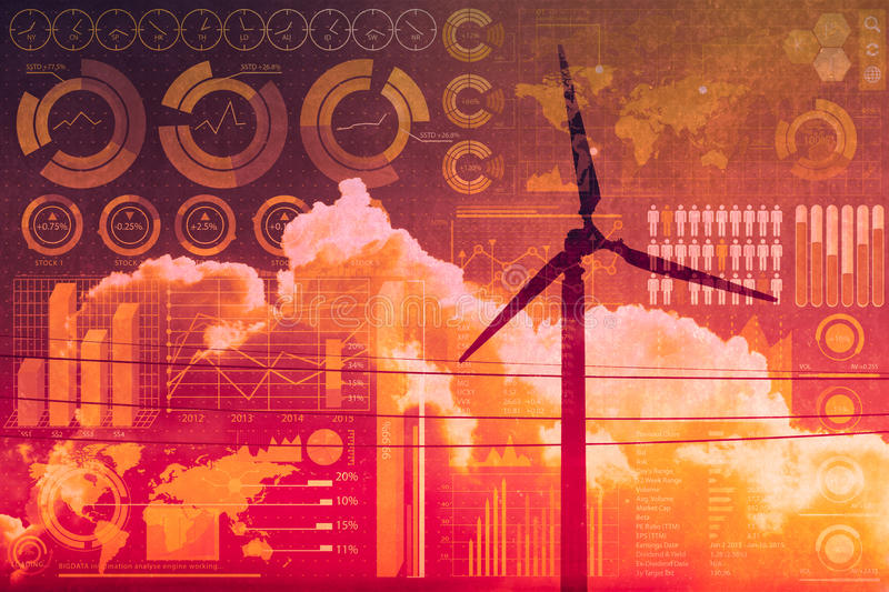 Future of power and technology, wind turbine with business mix media overlay. Future of power and technology, wind turbine with business information mix media stock image