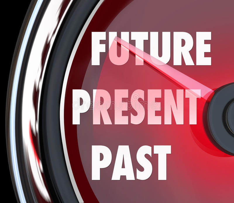 Future Present Past Speedometer Words Predict Whats Coming Next. Future, Present and Past words on a red speedometer to predict what's coming next and looking vector illustration