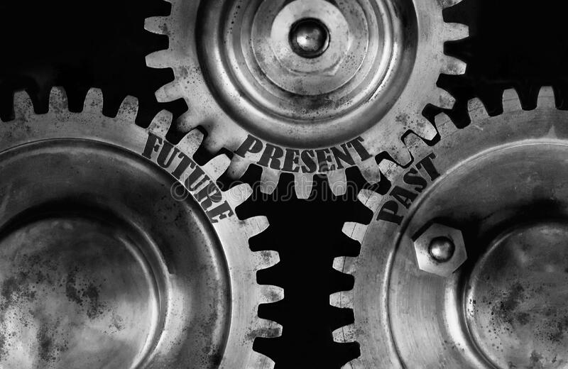Future, present, past text engraved into wheel cog. Metal gear with oil spots. Black and white theme. Tomorrow, now and yesterday concept royalty free stock photos