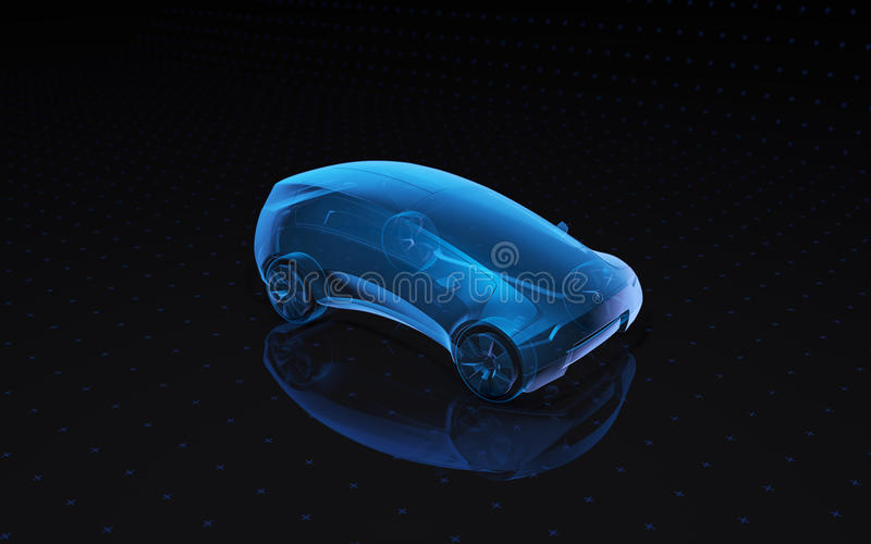 Future x-ray concept car. 3d rendering royalty free illustration