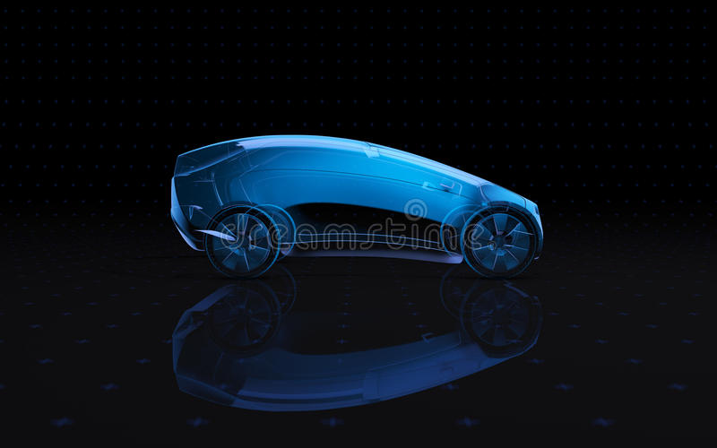 Future x-ray concept vehicle. 3d rendering view side vector illustration