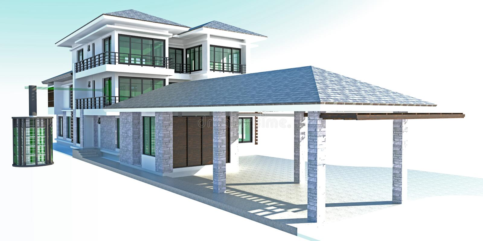Future residential house with huge outer battery energy source i royalty free illustration