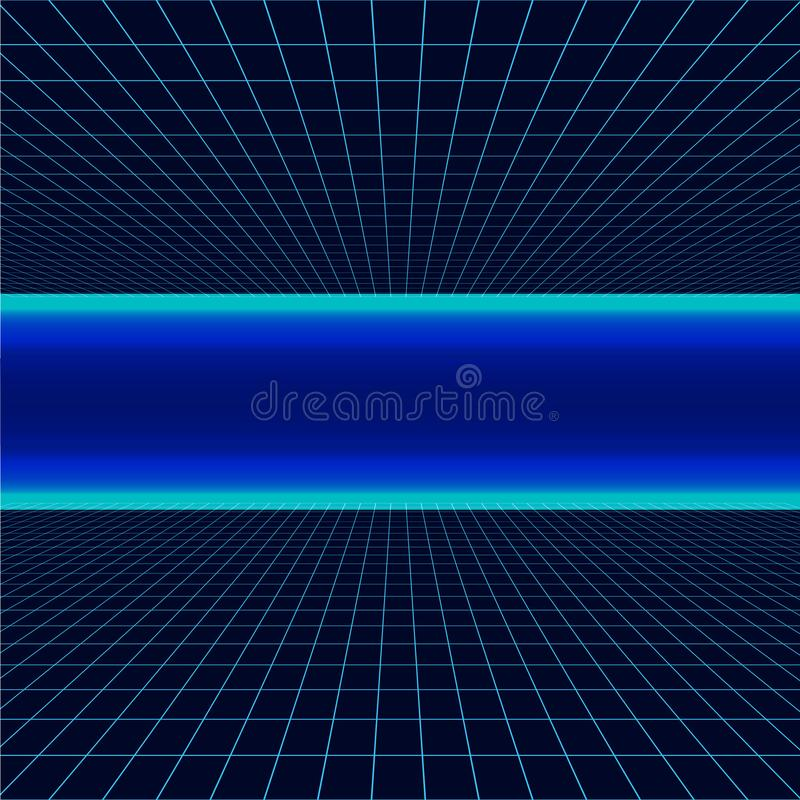 Future retro line background of the 80s. Vector futuristic synth retro wave illustration in 1980s posters style. stock illustration