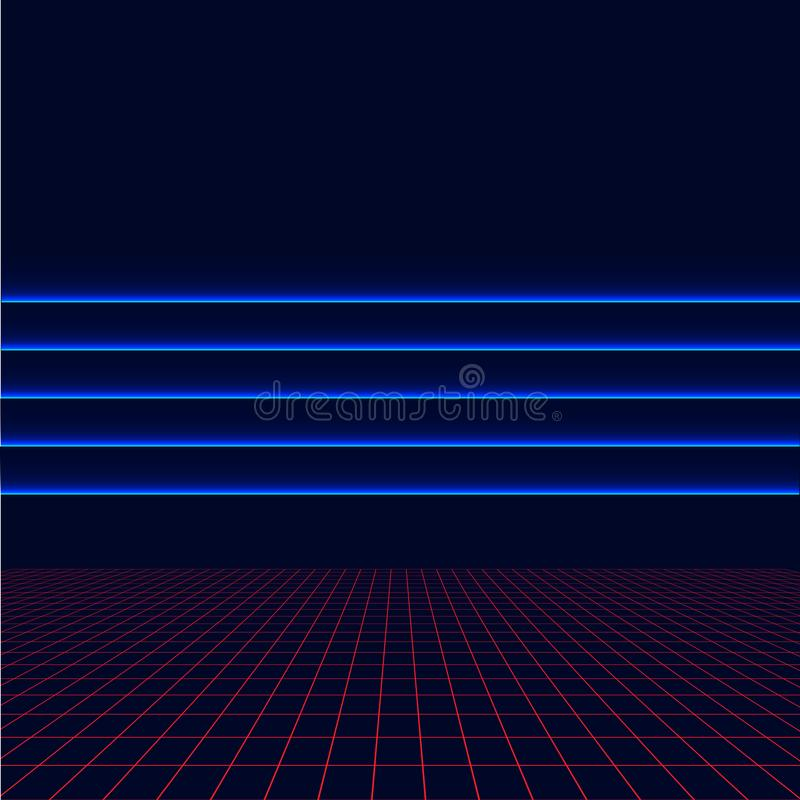 Future retro line background of the 80s. Vector futuristic synth retro wave illustration in 1980s posters style. vector illustration