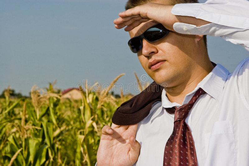 Future savvy business man stock photography