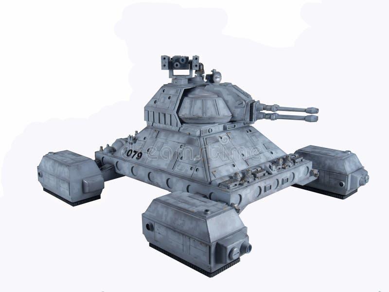 Future Sci-Fi hover tank. Future hover tank design against a white background stock photo