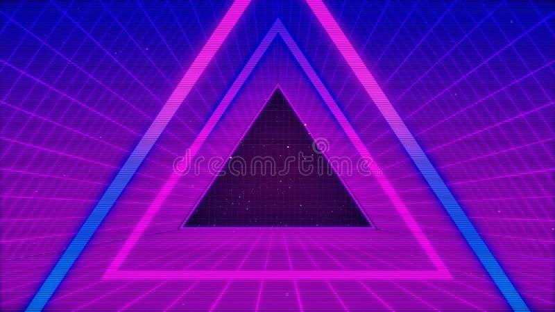Future Sci-Fi Retro Contexte Le paysage futuriste des années 80 Surface numérique Cyber Convient au design dans le style de illustration stock