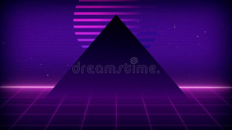 Future Sci-Fi Retro Contexte Le paysage futuriste des années 80 Surface numérique Cyber Convient au design dans le style de illustration libre de droits