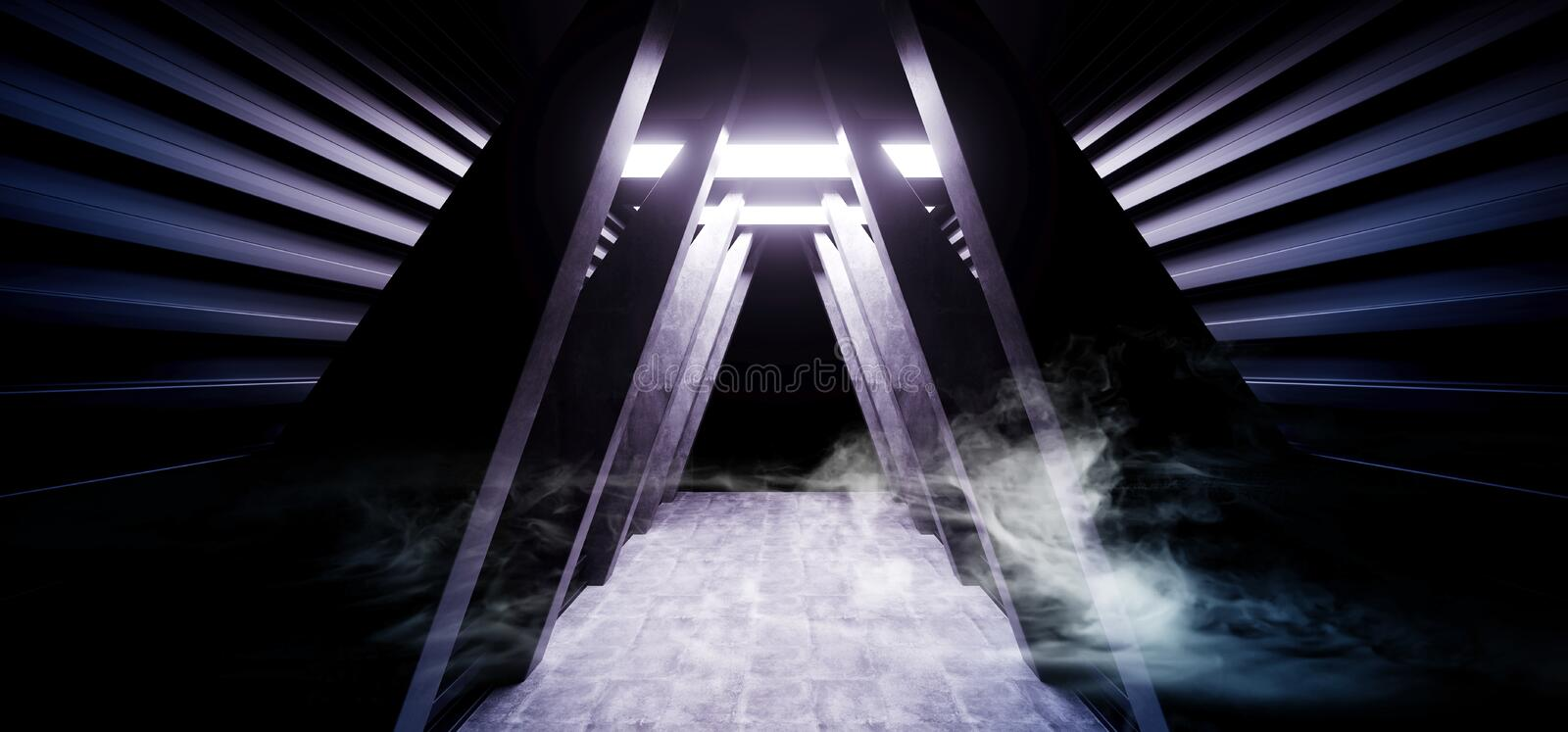 Future Sci Fi Smoke Neon Laser Spaceship Future Dark Corridor Glowing Purple Red Blue  Concrete Grunge Hallway Virtual Reality. Vibrant Fluorescent Space vector illustration