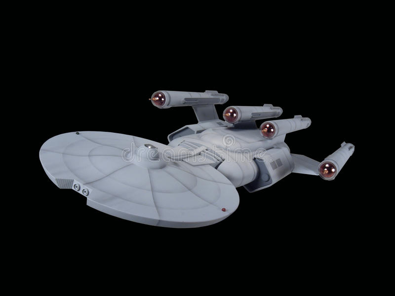 Future Sci-Fi spaceship. Front view of a future spaceship against a black background stock photography