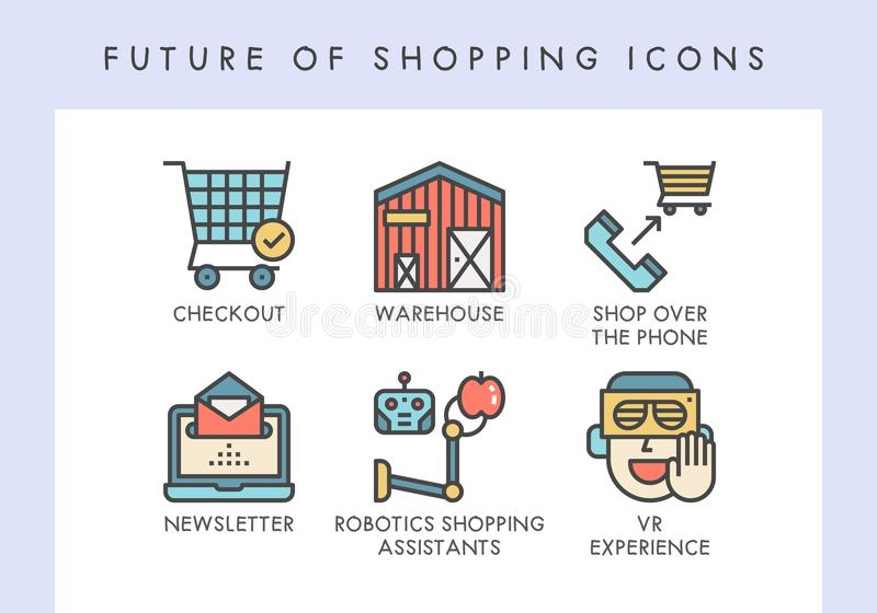 Future of shopping icons. Future of shopping concept icons for website, blog, app, presentation, etc stock illustration