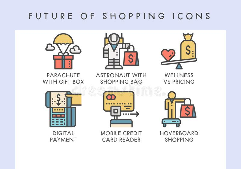 Future of shopping icons. Future of shopping concept icons for website, blog, app, presentation, etc royalty free illustration