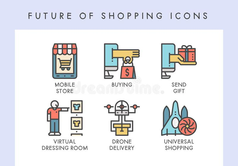 Future of shopping icons. Future of shopping concept icons for website, blog, app, presentation, etc vector illustration