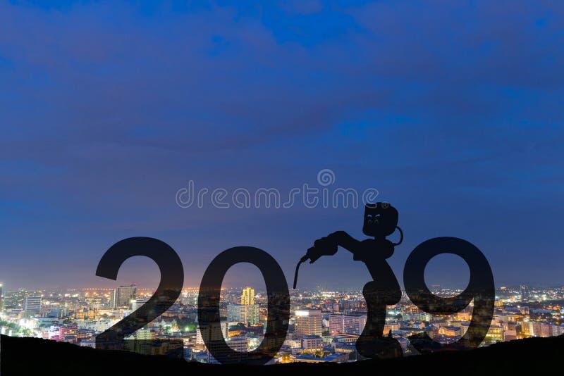 Future silhouette de robots de la bonne année 2019 photographie stock libre de droits