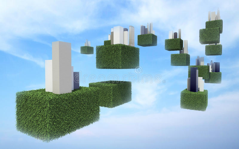 Future sky city in the sky. Future sky city in cloudy sky stock image