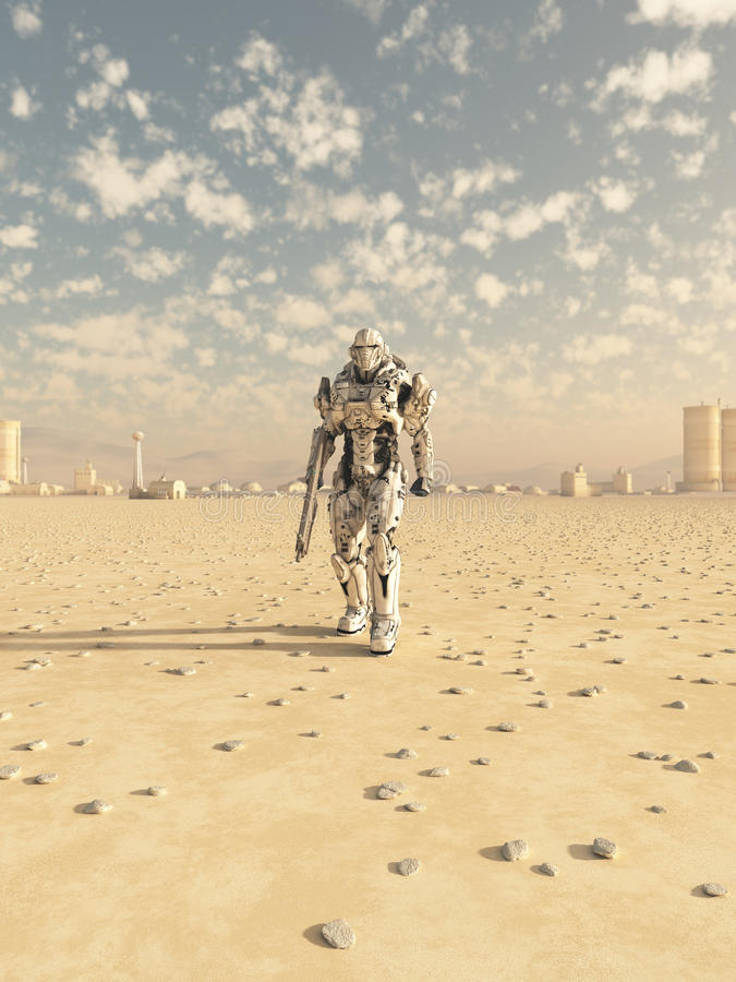 Future Soldier, Desert Patrol. Science fiction illustration of a space marine trooper on patrol in the desert outside a future city, 3d digitally rendered stock illustration