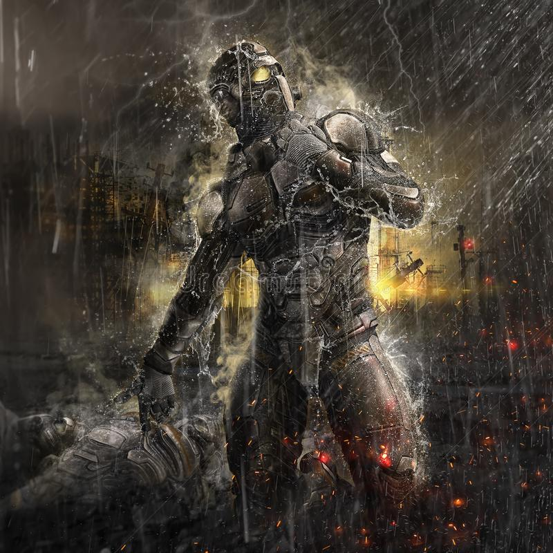 Future soldier in rain. 3D illustration of a future soldier standing in a rainy dystopian city atmosphere royalty free illustration