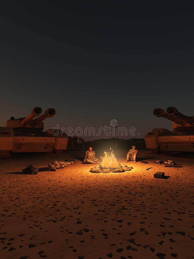 Future Soldiers Desert Camp at Night royalty free illustration