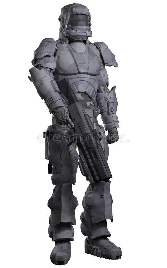 Future Space Marine in Urban Combat Armour. Science fiction illustration of a futuristic Space Marine wearing a suit of heavy urban combat armour, 3d digitally vector illustration
