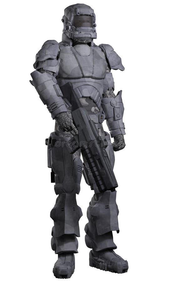 future space marine in urban combat armour stock