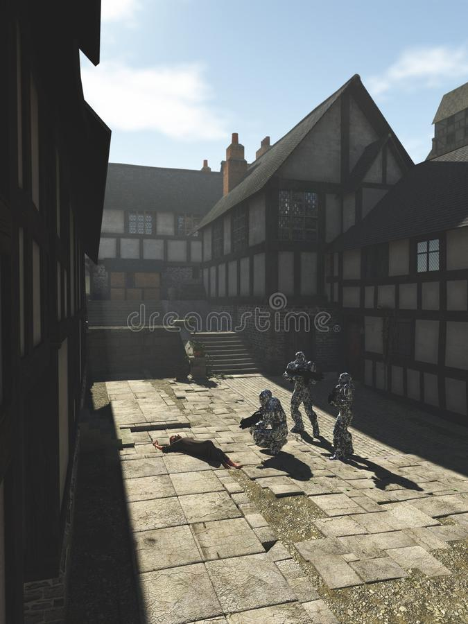 Future Space Marines in a Medieval Town stock illustration