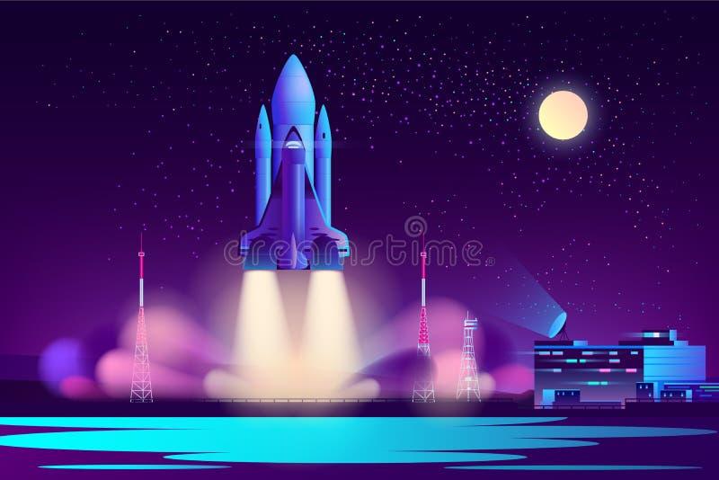 Space shuttle night launching cartoon vector vector illustration
