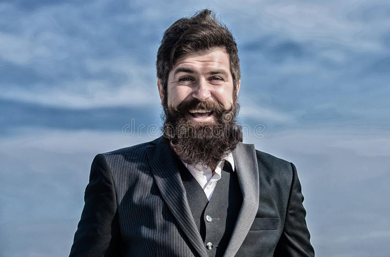Future success. Male formal fashion. brutal caucasian hipster with moustache. Mature hipster with beard. Businessman stock photo