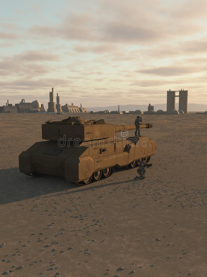 Future Super-Heavy Tank Guarding a Desert City royalty free illustration