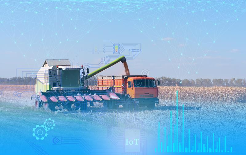 Future technologies, the Internet of things, allowing you to manage the harvester without human intervention to increase productiv. Ity and reduce costs stock image