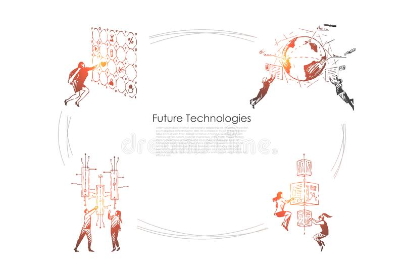 Future technologies - people pushing buttons, looking at screens and exploring technologies of future vector concept set. Hand drawn sketch isolated vector illustration