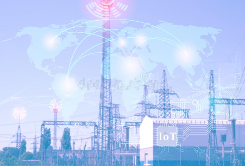future technologies to achieve industry 4.0., the Internet of things for the interaction of industry in the world and economic dev royalty free stock photos