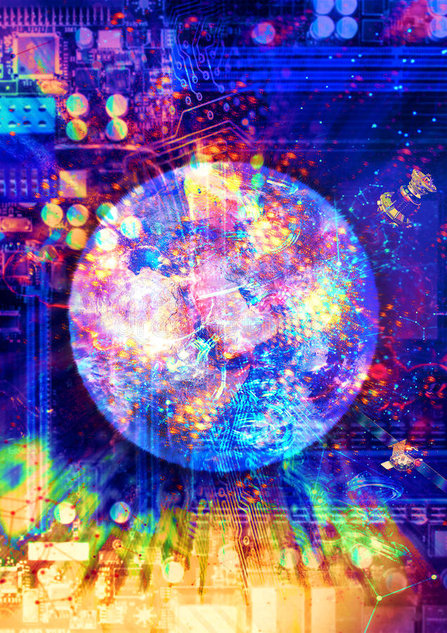 Future of technology. Computer illustration consisting of the earth surrounded by technology objects, dynamic lights, high quality, saturation and contrast stock illustration