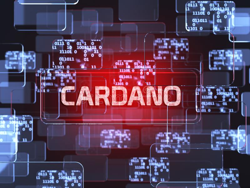 Cryptocurrency Cardano. Future technology block chain cryptocurrency Cardano red touchscreen interface. Blockchain financial virtual money wallet screen concept royalty free illustration