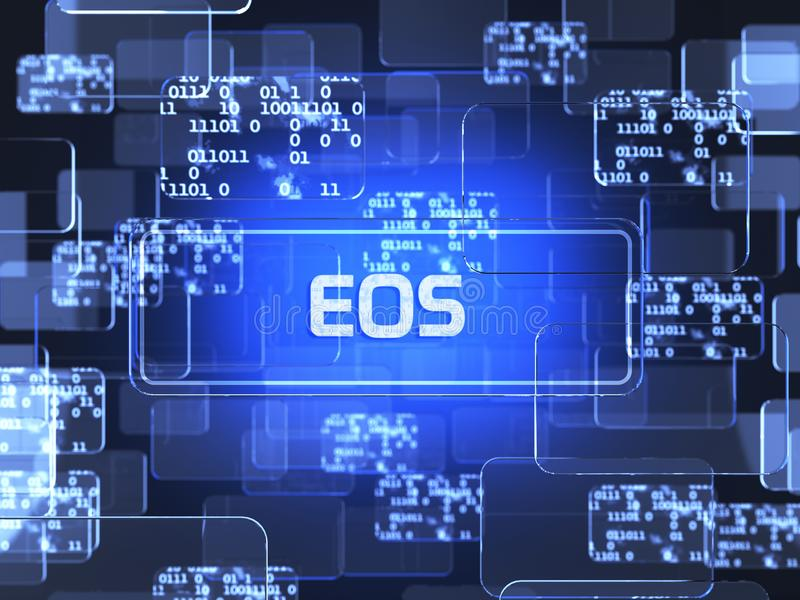 Cryptocurrency EOS. Future technology block chain cryptocurrency EOS blue touchscreen interface. Blockchain financial virtual money wallet screen concept. 3d royalty free illustration