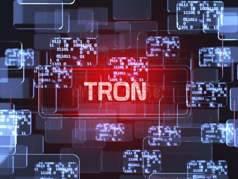 Cryptocurrency Tron. Future technology block chain cryptocurrency Tron red touchscreen interface. Blockchain financial virtual money wallet screen concept. 3d stock illustration