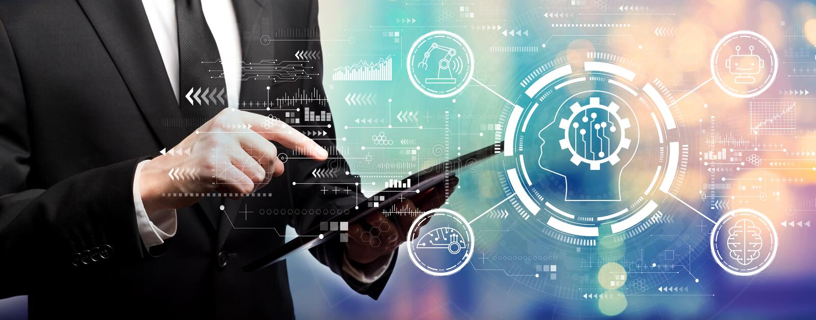 Future technology concept with businessman royalty free stock images