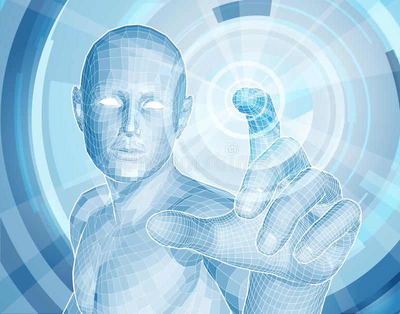 Future technology 3D app concept. With blue human man figure touching a touch screen activating something stock illustration