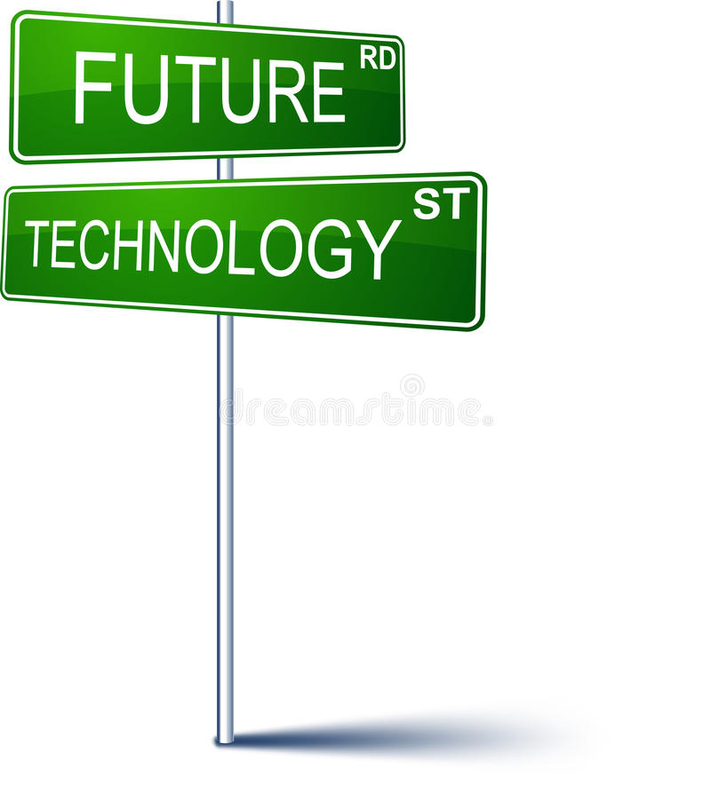 Future-technology direction sign. Vector direction sign with Future technology words royalty free illustration