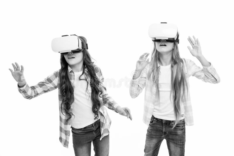 Future technology. Girls interact cyber reality. Play cyber game and study. Modern education. Alternative education stock photo