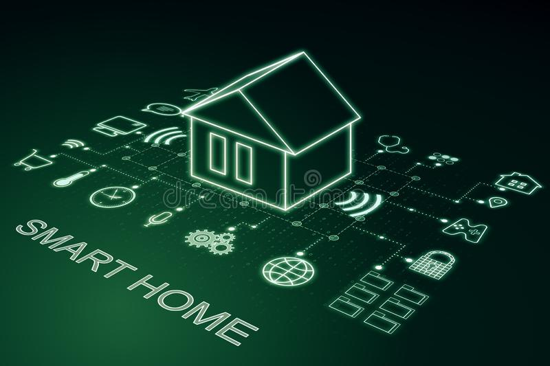 Future technology smart home. Control concept. 3D Rendering vector illustration