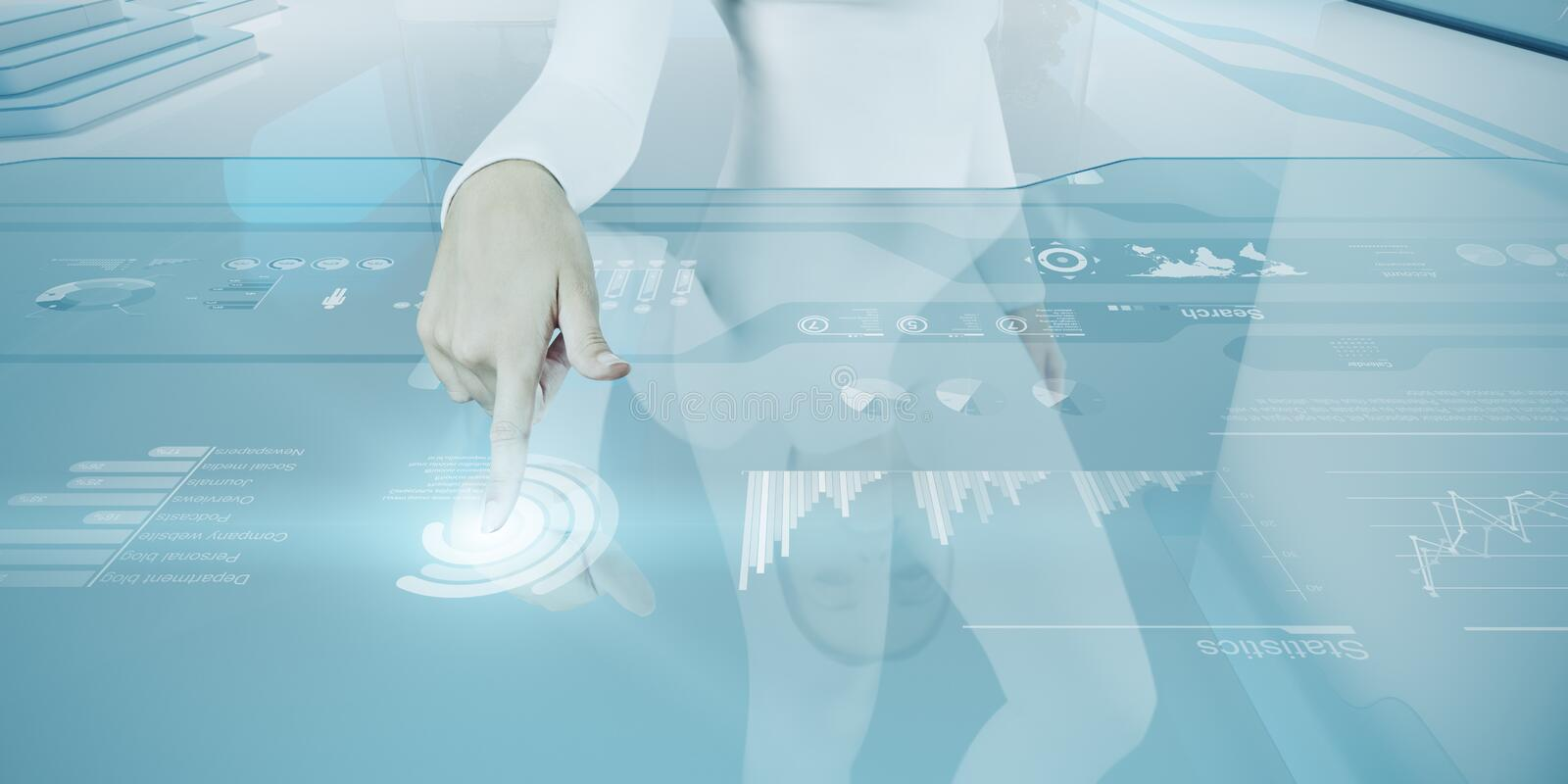 Future technology touchscreen interface. royalty free stock image
