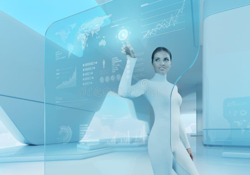 Future technology. Girl press button touchscreen interface. Future technology touchscreen interface. Girl touching screen interface in hi-tech interior
