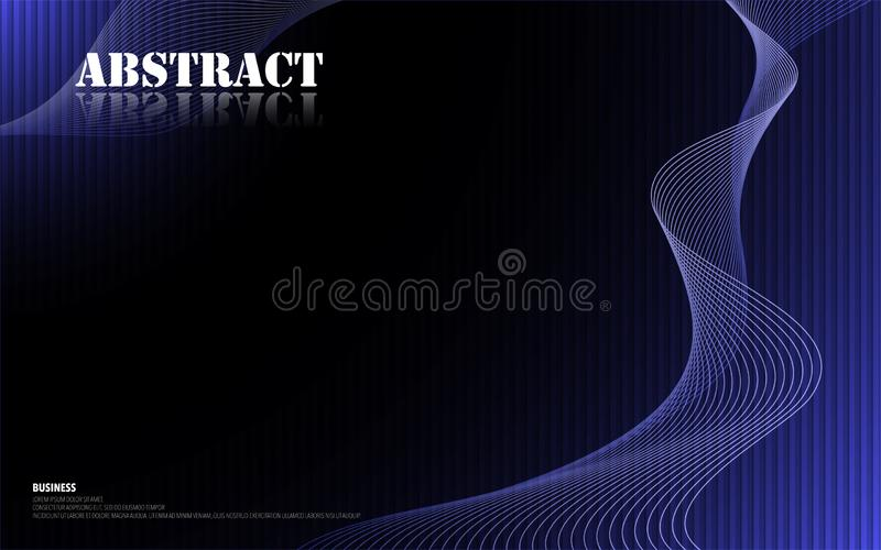 Future template design spiral wave with blue black gradient texture royalty free illustration